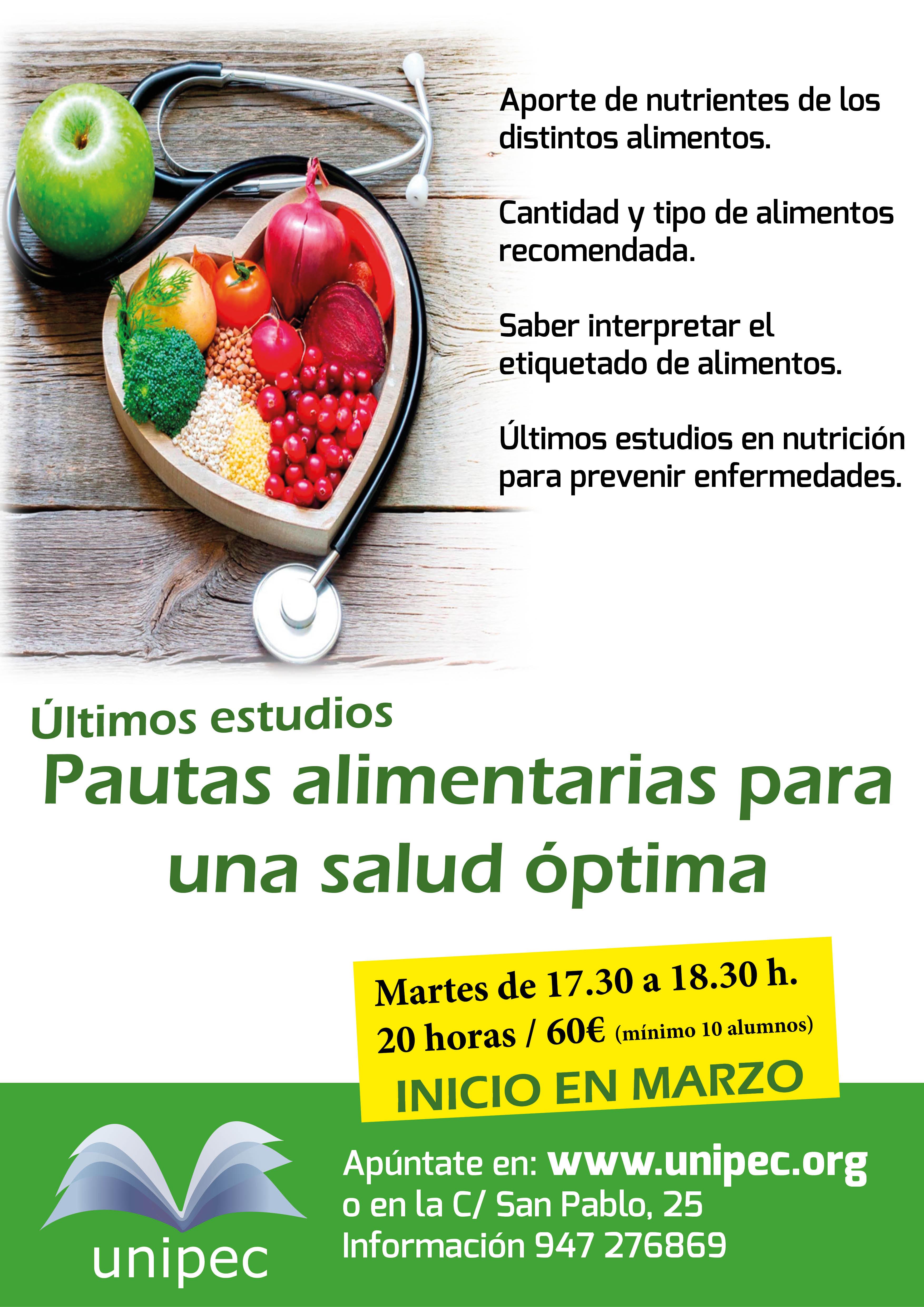 Pautas alimentarias para una salud optima