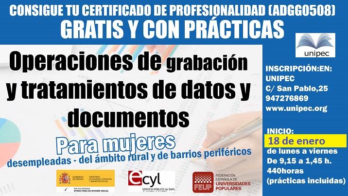 Operación de grabación y tratamiento de datos y documentos